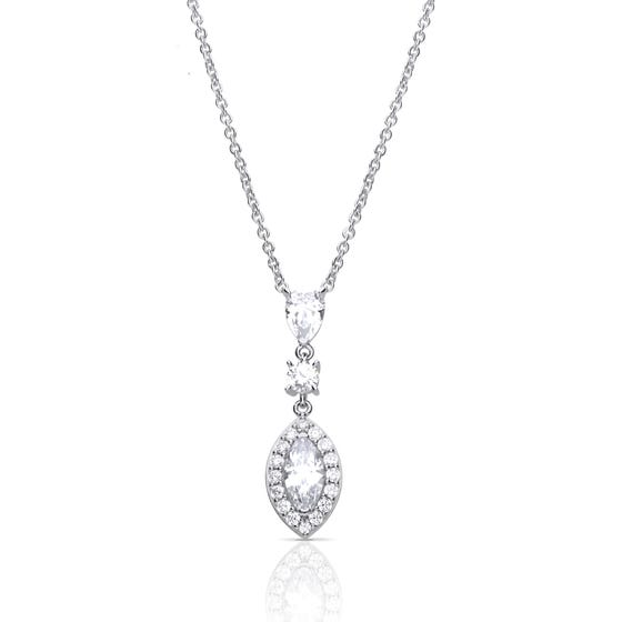 Silver Zirconia Pave Marquise Necklace
