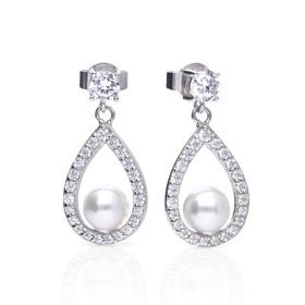 Silver Zirconia & White Shell Pearl Open Teardrop Earrings