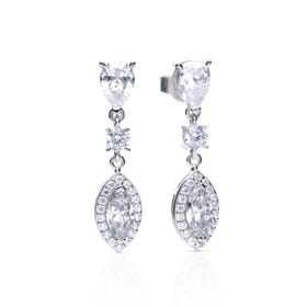 Silver Zirconia Pave Marquise Drop Earrings