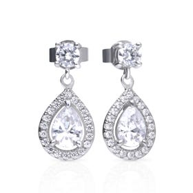 Silver Zirconia Pave Teardrop Earrings