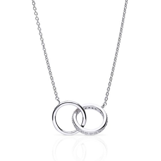 Silver Zirconia Interlocking Circles Necklace