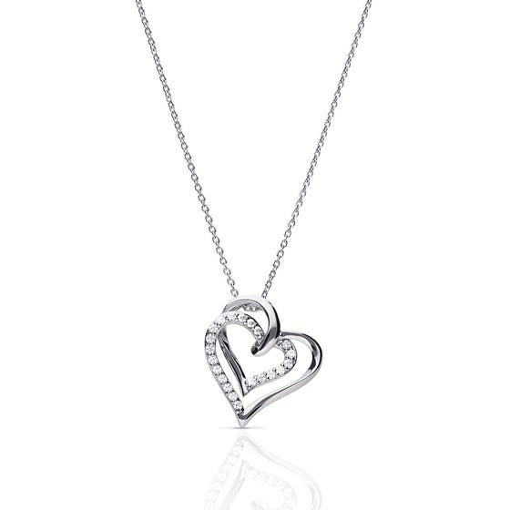 Silver Zirconia Entwined Hearts Necklace