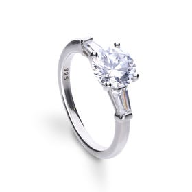 Silver Zirconia Baguette Trilogy Ring