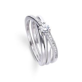 Silver Zirconia Trinity Twist Ring