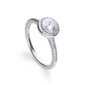 Silver Zirconia Round Pave Halo Ring