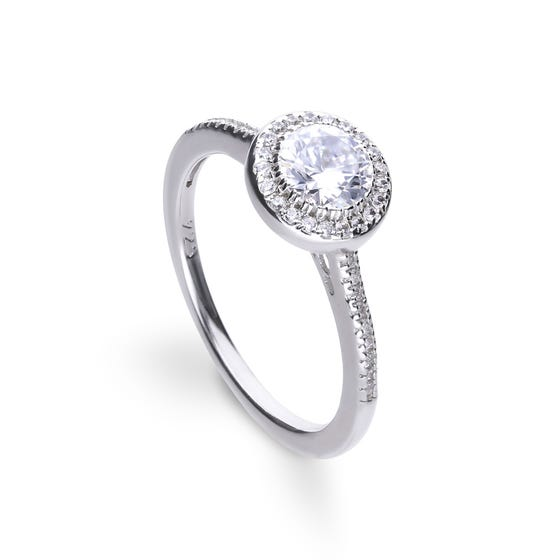 Silver Zirconia Round Pave Halo Ring