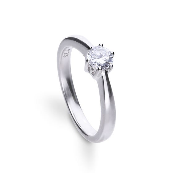 Silver Zirconia Claw Set 0.5ct Solitaire Ring