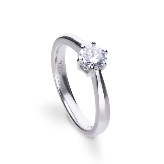 Silver Zirconia Claw Set 0.75ct Solitaire Ring