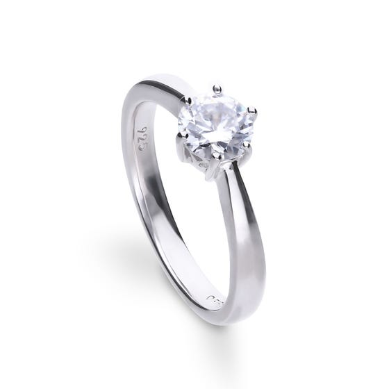 Silver Zirconia Claw Set 1ct Solitaire Ring