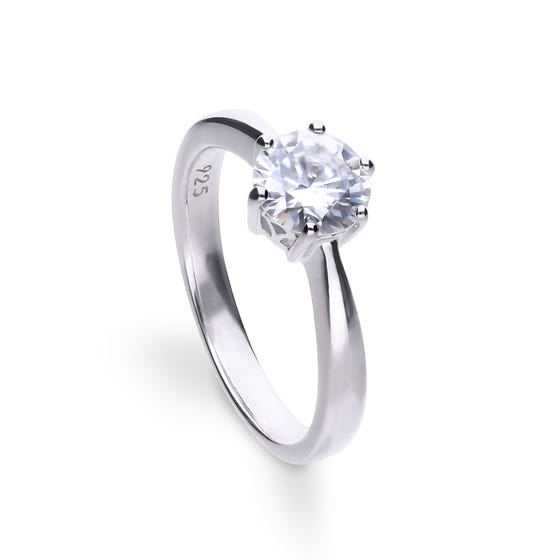 Silver Zirconia Claw Set 1.5ct Solitaire Ring