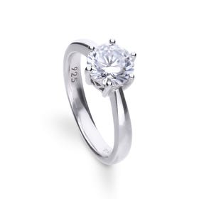 Silver Zirconia Claw Set 2ct Solitaire Ring