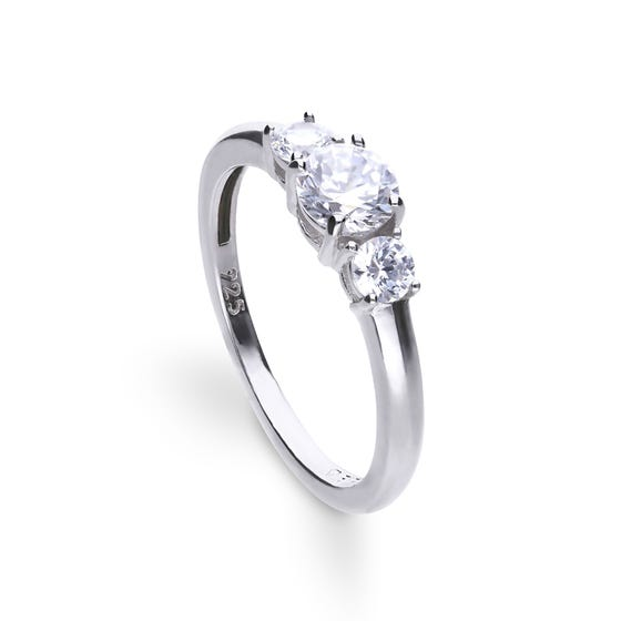 Silver Zirconia 1ct Triple Stone Trilogy Ring