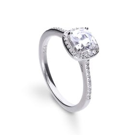 Silver Zirconia Cushion Cut Pave Ring