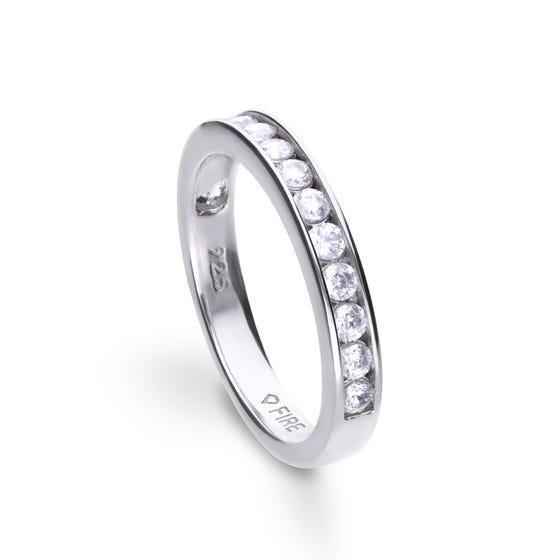 Silver Zirconia Channel Set Half Eternity Ring