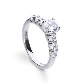 Silver Zirconia Seven Stone Solitaire Ring