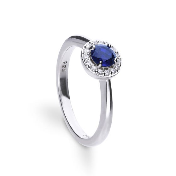 Silve White & Blue Zirconia Round Pave Ring