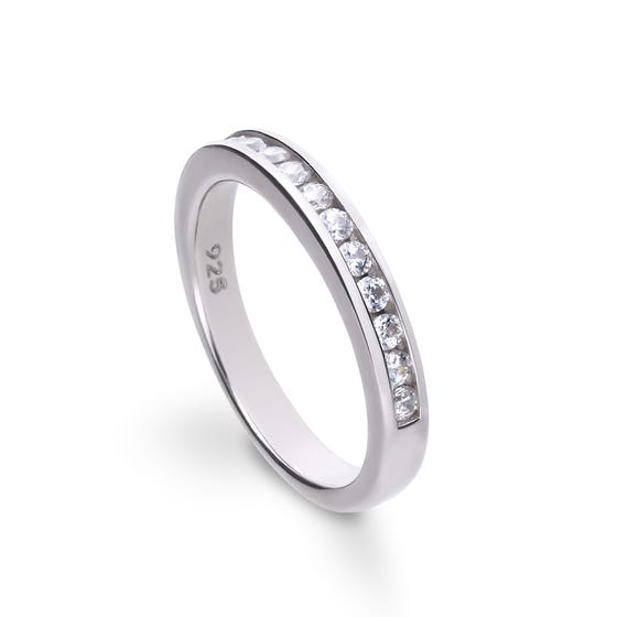 Silver Zirconia Pave Channel Set Half Eternity Ring