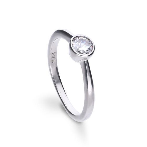 Silver Zirconia Bezel Set 0.5ct Solitaire Ring
