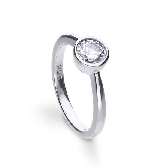 Silver Zirconia Bezel Set 1ct Solitaire Ring