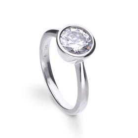 Silver Zirconia Bezel Set 2ct Solitaire Ring