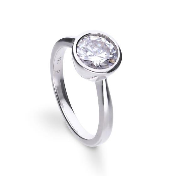 Silver Zirconia Bezel Set 2ct Solitaire Ring