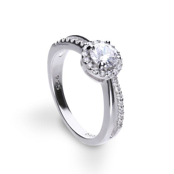 Silver Zirconia Pave Split Band Ring