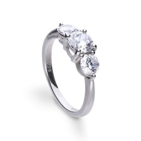 Silver Zirconia 1.5ct Triple Stone Trilogy Ring