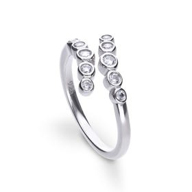 Silver Zirconia Open Wave Ring