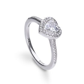 Silver Zirconia Heart Pave Ring