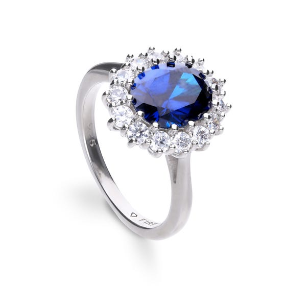 Silver White & Blue Zirconia Oval Cluster Ring