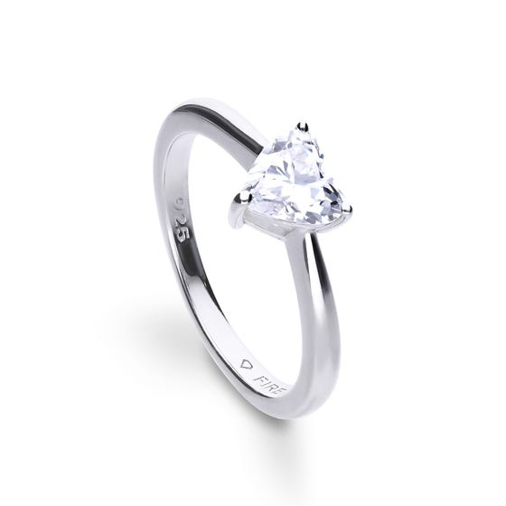 Silver Heart Shaped Zirconia Ring