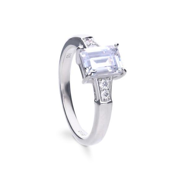Silver Zirconia Emerald Cut Ring