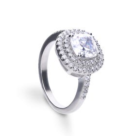Silver Zirconia Cushion Cut Double Halo Ring