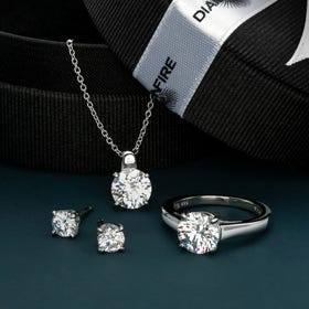 Silver Zirconia Solitaire Earrings Necklace & Ring Set