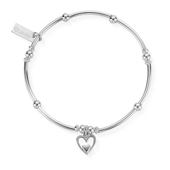 Silver Mini Noodle Ball Heart In Heart Bracelet