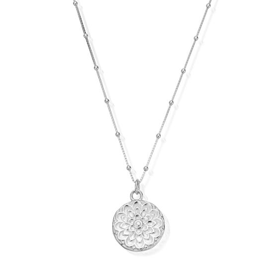 Silver Moon Flower Necklace