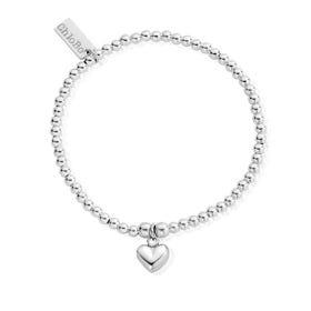 Silver Cute Charm Puffed Heart Bracelet