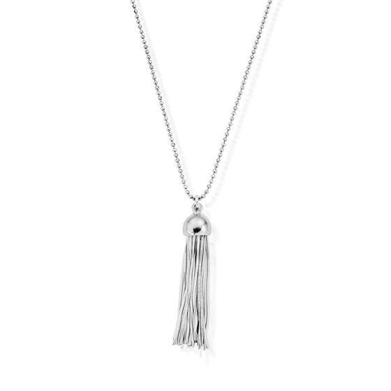 Silver Diamond Cut Chain With Cap Tassel Pendant