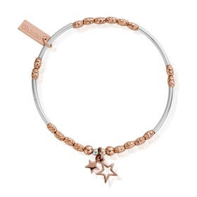 Rose Gold Plated & Silver Double Star Bracelet