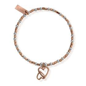 Rose Gold Plated & Silver Interlocking Love Heart Bracelet