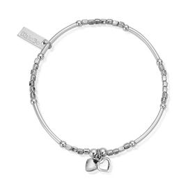 Silver Mini Noodle Cube Two Heart Bracelet
