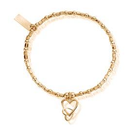 Gold Plated Interlocking Love Heart Bracelet