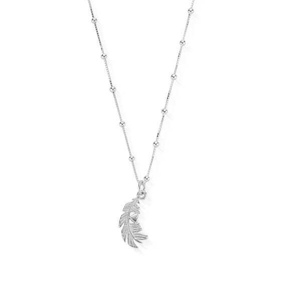 Silver Bobble Chain Heart In Feather Necklace