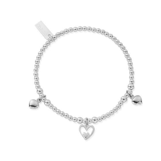 Silver Triple Heart Bracelet
