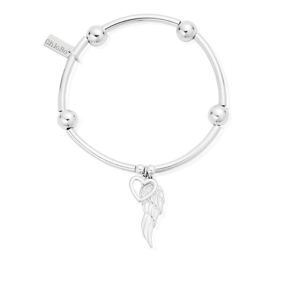 Silver Noodle Ball Open Heart & Angel Wing Bracelet