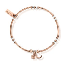 Rose Gold Plated & Silver Dainty Moon & Sun Bracelet