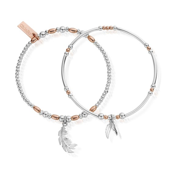 Rose Gold Plated & Silver Strength & Courage Bracelet Set