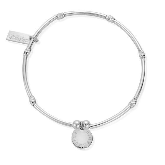 Silver Mini Noodle Sparkle Rice Friendship Disc Bracelet