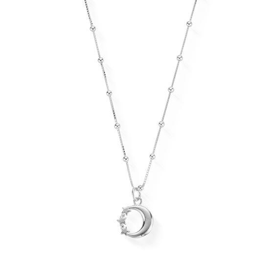 Silver Bobble Chain Moon & Stars Necklace