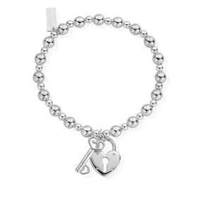 Silver Mini Small Ball Lock & Key Bracelet